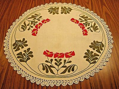 English Arts & Crafts Embroidered Linen Wool Table Doily Runner Crochet Lace