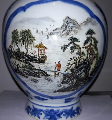Pair of Matching Antique Man and Woman Theme Chinese Porcelain Vases