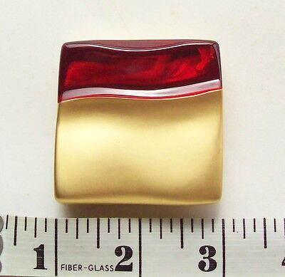 Vtg Estee Lauder Beautiful Solid Perfume Compact Gold Tone Red Lucite Case
