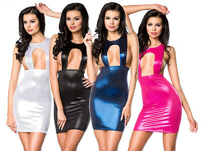 Sexy Club Party Kleid Metallic Look Bodycon Gogo Lack Glanz Minikleid Clubwear
