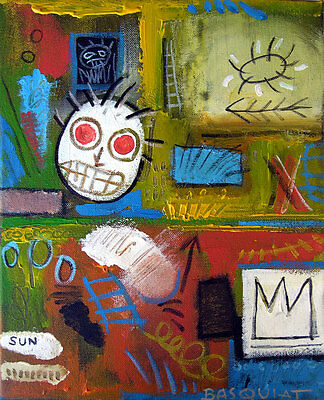 Rare original oil, on canvas painting, signed Jean Michel Basquiat