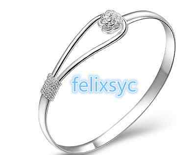 NEW Charm Flower Smooth Jewelry 925 Silver Bangle Bracelet Lady UK Gifts
