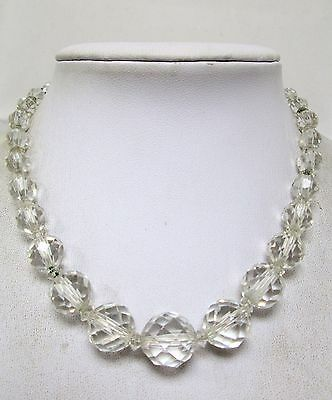 Good quality vintage Deco faceted crystal bead necklace