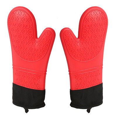 Stylish Heat Resistant Silicone Oven Gloves Extra Long with Non-slip Grip(1Pair)