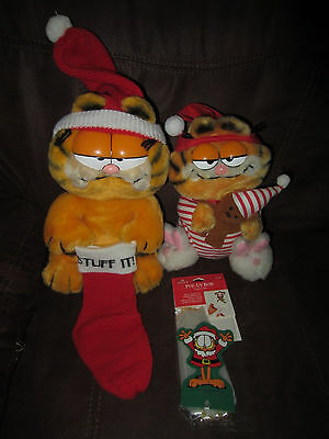 Vintage 1981 Dakin Garfield the Cat POOKY BEAR Stuff IT POP UP BOW CHRISTMAS LOT
