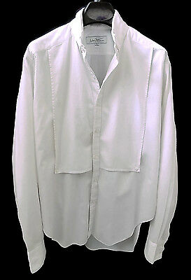 Vintage Andrew Fezza Men's Dress/Tuxedo Shirt Sz 16x16.5-L Ribbed Cotton Design