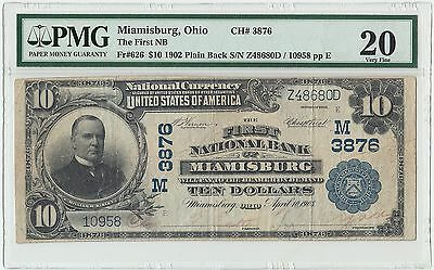 1902 $10 National Currency First NB Miamisburg Ohio Plain Back Note PMG VF 20