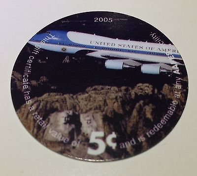 AAFES 2005 Air Force One 5¢ POG over Mt Rushmore From KAF