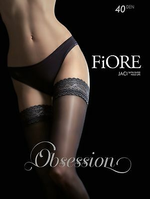 Fiore JACI 40 Denier Stockings Thigh High Hold Up Nylons Lace Top FREE SHIP