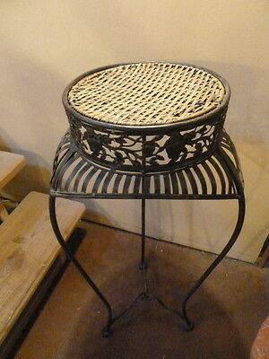Rare Vintage Steel & Rush Three Legged Plant Stand/Table W/ Fruit Motif Design