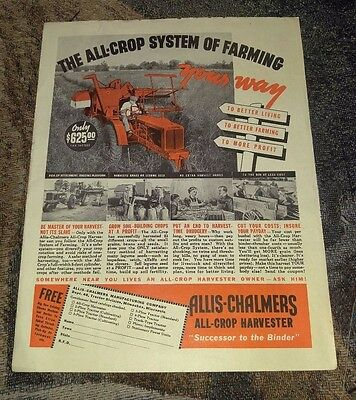 Allis Chalmers 1938 All Crop System Tractor Vintage Photo Print Ad