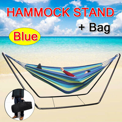 Double Rainbow Hammock Steel Frame Stand Combo with Free Portable Carrying Bag