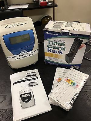 Amano MRX-35- Time clock, time cards, expanding card rack and manual