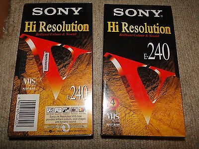 2 Sony E240 Hi Resolution Blank Video Cassette.tapes New And Sealed.
