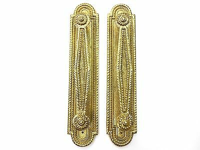 Vintage Pair Very Ornate Brass Door Handle Pulls with Back Plates - Portugal