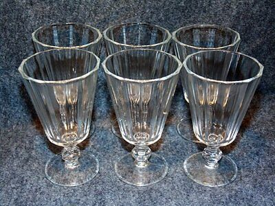 6 Vintage Fluted Clear Glass Cordials Stemware Bar Goblets Mid Century