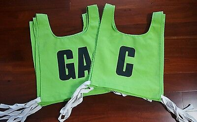 NETBALL BIB SET - Lime Green with Black Lettering, Quick drying - set of 10