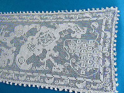 """Antique Pr. Knotted Lace White Runners Animals Picasso Like 108 """" Ea Europe"""