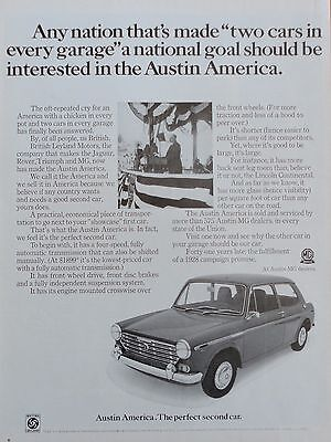 1968  PRINT AD AUSTIN AMERICA the perfect second car offered by the British