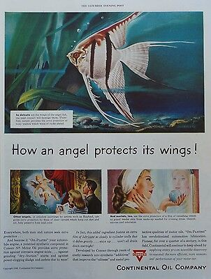 1948  PRINT AD CONTINENTAL OIL COMPANY (CONOCO) angel fish protects its' wings