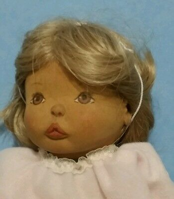 Vintage Beckett hand carved wood doll,original tagged clothes,hand-painted face!