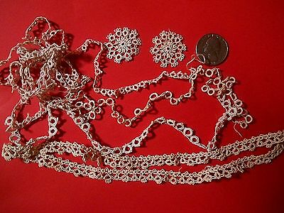 Lot of Vintage Antique dainty Hand Tatted Lace Trims & pieces  Doll  Crafts