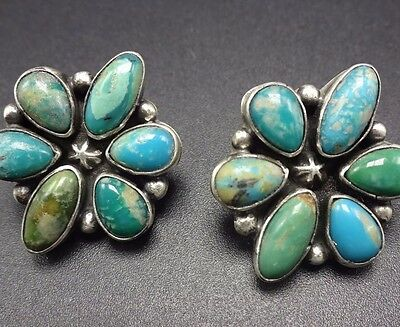 Signed NAVAJO Sterling Silver & TURQUOISE Cluster EARRINGS Pierced