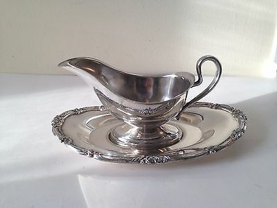 Vintage Silverplate Sauce Gravy Boat With Underplate