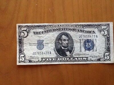 1934 A Blue Seal $5 Silver Certificate Lincoln Bank Note Old Money