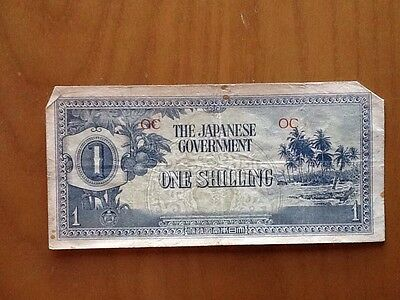 OC The Japanese Government One Shilling Oceania Bank Note Old Currency Money