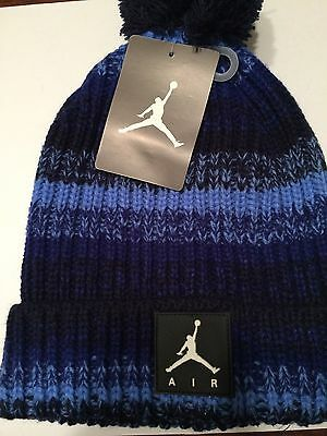 JORDAN Youth Cable Knit Blue Pom Winter Hat Cap New Beanie NWT