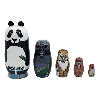 5PCS Hand Painted Panda Animal Wooden Russian Nesting Dolls Matryoshka Toys