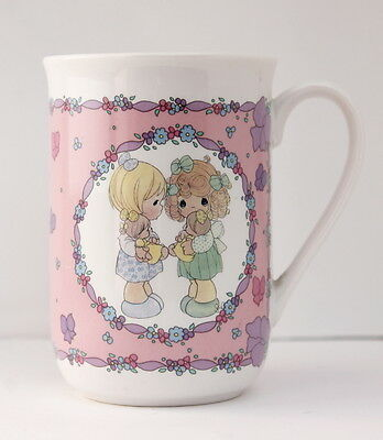 1991 Enesco PRECIOUS MOMENTS Let's Be Friends Pink Porcelain Collectible Cup Mug