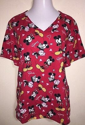 Disney Mickey & Minnie Red Hearts • Women's Plus 3X Scrub Top