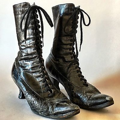Antique Victorian Edwardian Black Leather Lace-Up Boots by Red Cross Louis Heel