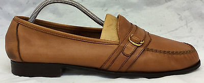 COLE HAAN Size 10.5 D Men's Tan Camel Gold Buckle Quality Leather Loafers Shoes