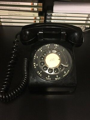 Vintage Rare 1977  black ITT Rotary Dial Telephone With Cords Untested