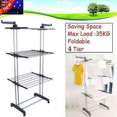 Movable Folding Clothes Laundry Airer Dryer Drying Rack Hanger Stand Garments