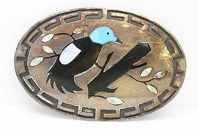 """Native American Large Belt Buckle Signed """"B Ouam""""? Inlay Bird With Turquoise MOP"""