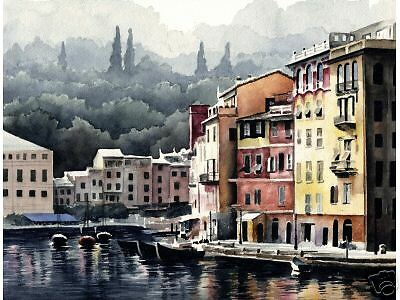 PORTOFINO ITALY Watercolor Painting 8 x 10 ART Print Signed by Artist DJR