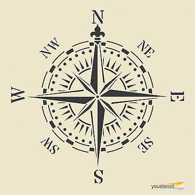Compass Stencil Template: Large:   Scrapbooking, Airbrushing : ST62A4