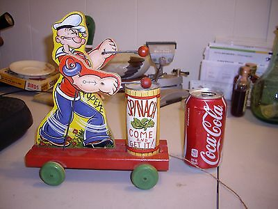 1939 Fisher Price #488 Popeye Spinach Eater Wooden Litho Drum Pull Toy Working
