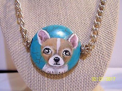 hand painted Chihuahua turquoise pendant necklace
