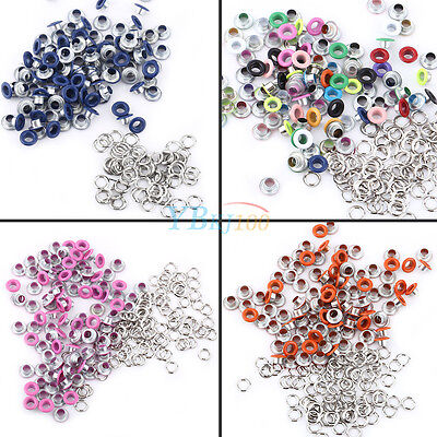 100Pcs 5mm Metal Eyelets w/ Washer DIY Leather Craft Scrapbooking Card Colorful