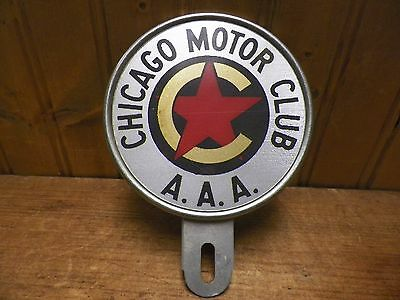 Vintage Chicago Motor Club  A.a.a. License Plate Topper Reflector  Original