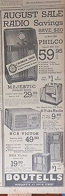 1938 newspaper ad for radios - Philco 7xx, Majestic chairside, RCA, General