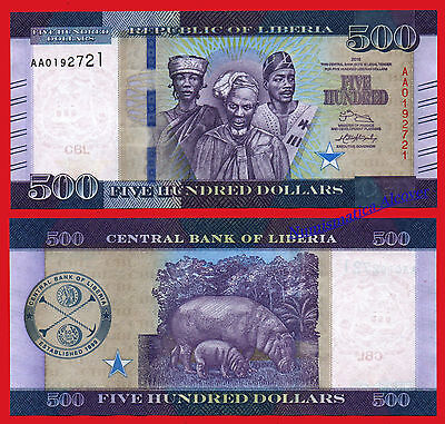 LIBERIA 500 Dollars 2016 (2017) Serial AA Pick NEW UNC