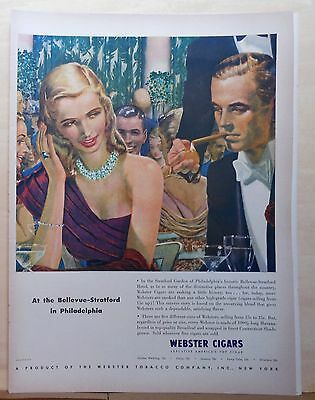 1948 magazine ad for Webster Cigars - fancy party at Bellevue Stratford Phila.