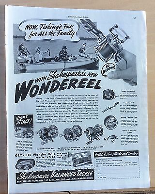 1941 magazine ad for Shakespeare Wondereel fishing reels, Fun for All the family