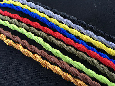 12 Color Antique Braided Wire Woven Fabric Lamp Cable Cord Light Electric 2 Core